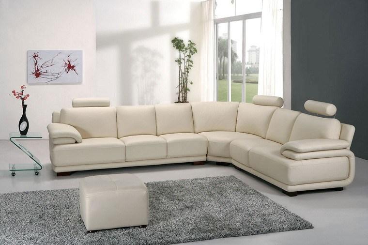 muebles salon modernos blanco plantas alfombra