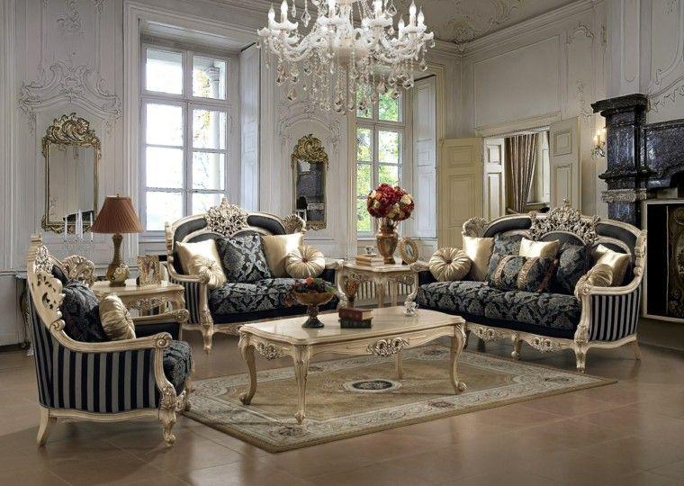muebles salon sofas mesa oro estilo victoriano ideas