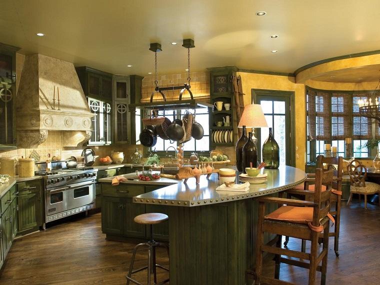 muebles vintage cocina armarios verde oscuro ideas