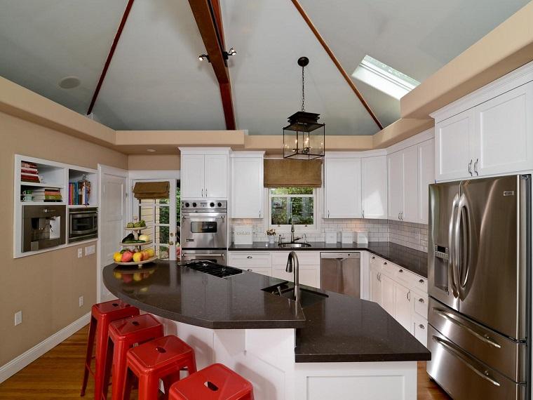 muebles vintage cocina estilo contemporaneo armarios blancos ideas