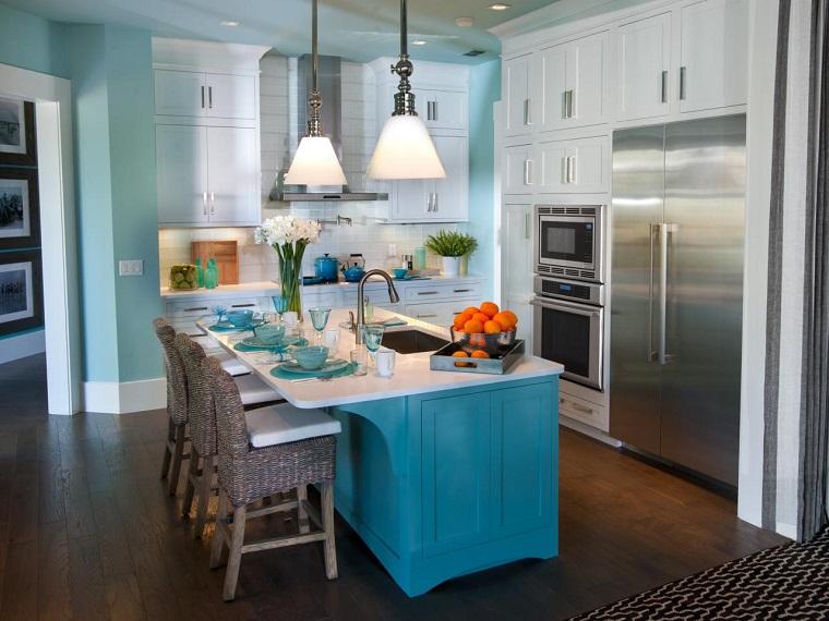 muebles vintage cocina isla azul ideas moderna