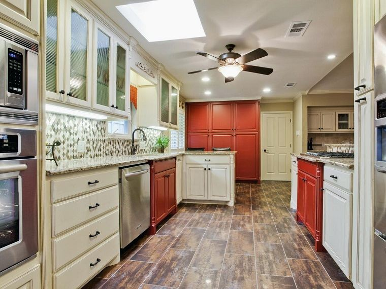 muebles vintage cocina armarios blanco rojo ideas