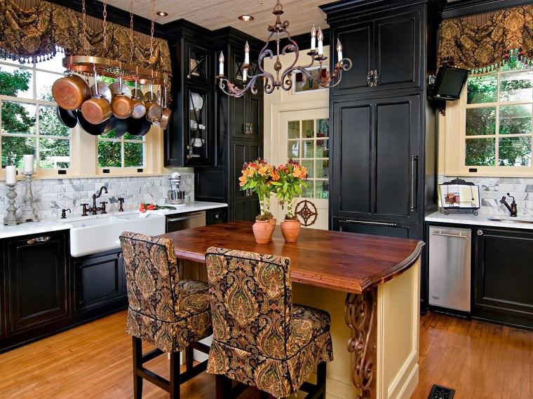 muebles vintage estilo tradicional cocina armarios negros ideas