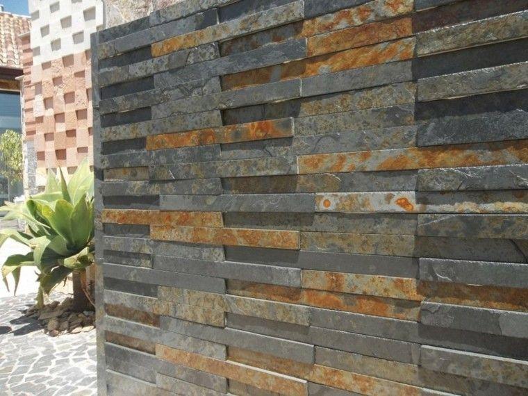 Revestimiento de paredes exteriores 50 ideas for Piedras para patios exteriores