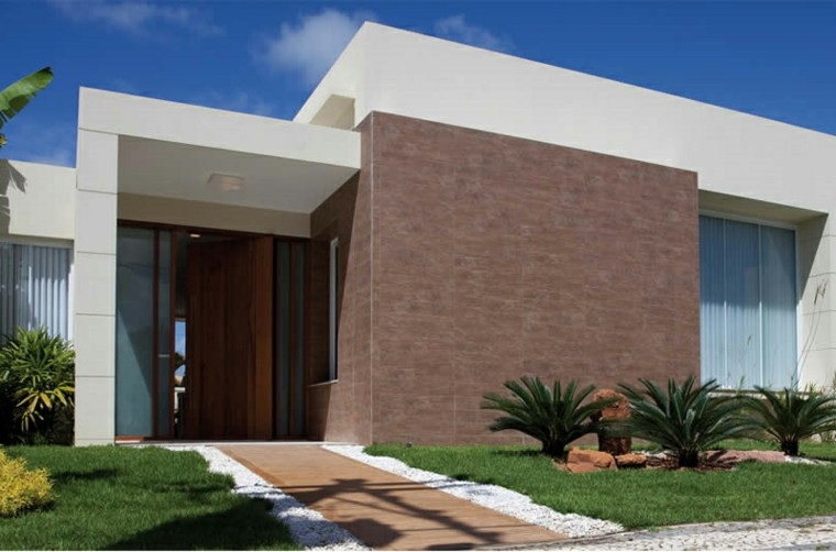 Revestimiento de paredes exteriores 50 ideas for Fachadas exteriores de casas modernas