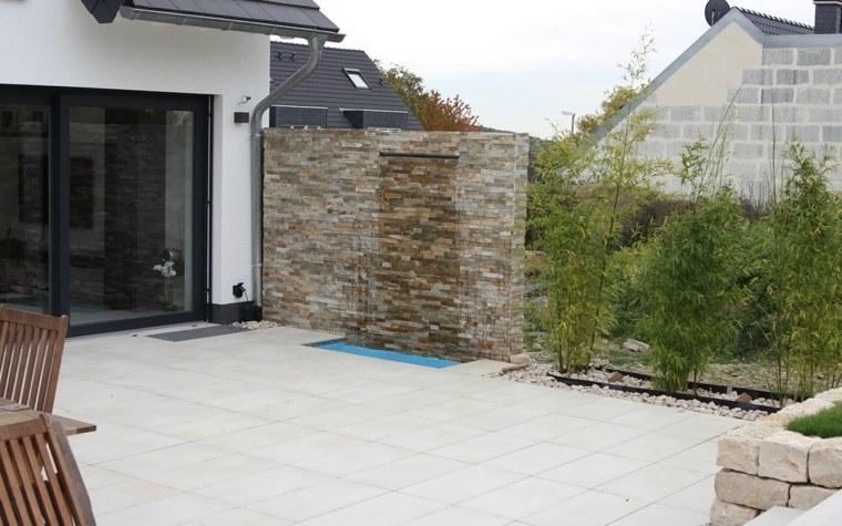 muro jardin idea caida agua preciosa moderno