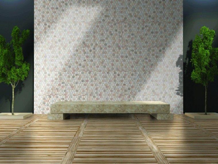 Revestimiento de paredes exteriores 50 ideas for Mosaicos para pisos exteriores