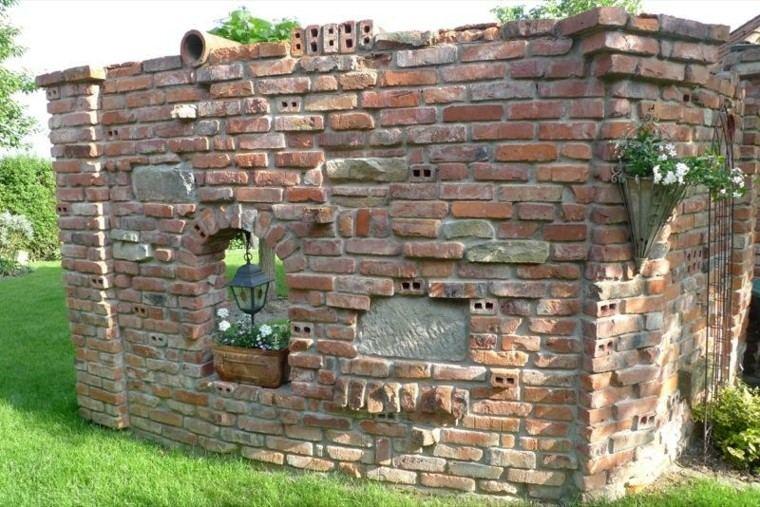 muro original jardin baldosas ideas estilo rustico
