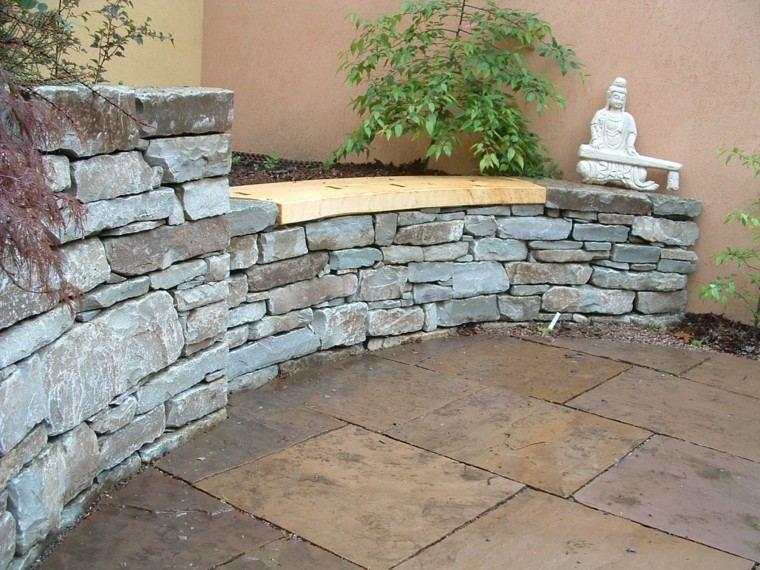 muro piedra distinto lugar banco madera ideas