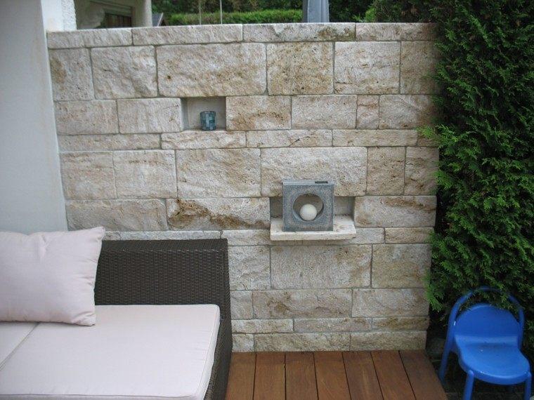 muro piedra grande jardin muebles comodos ideas
