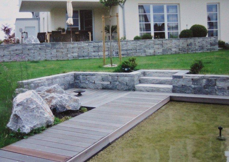 muro piedras camino madera estanque grande ideas