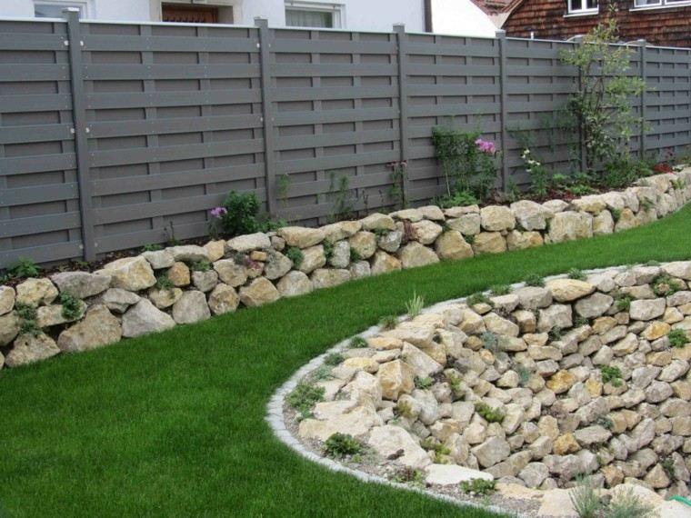 muro valla alta piedras grandes distintos tamanos ideas