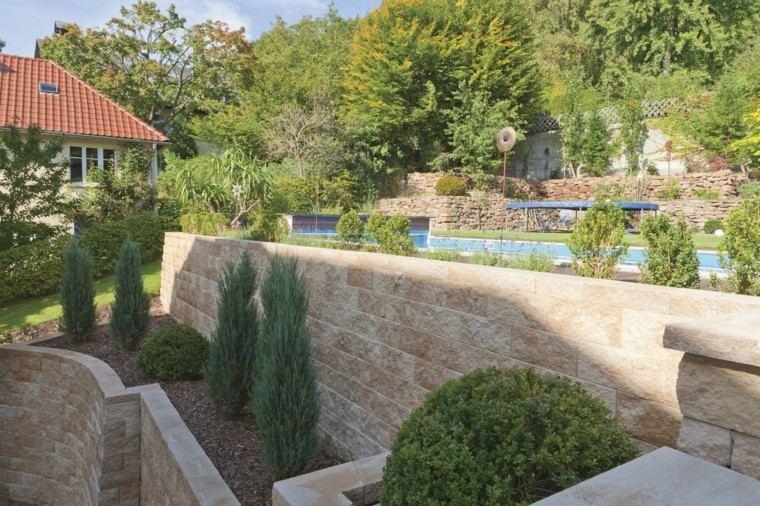 muros jardin altos plantas piscina grande ideas