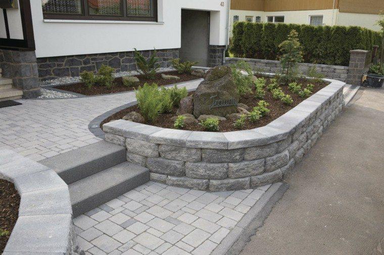 muros jardin entrada casa ideas piedras bonito