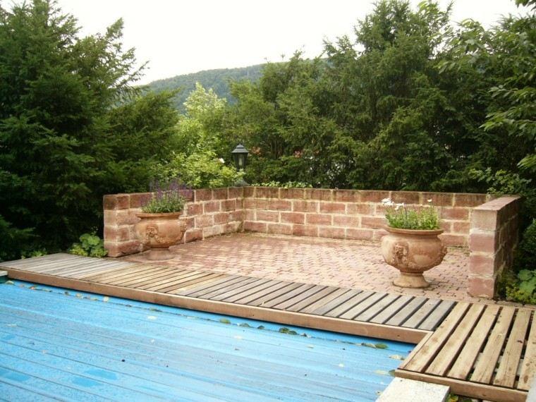 muros jardin macetas grandes baldosas suelo madera ideas