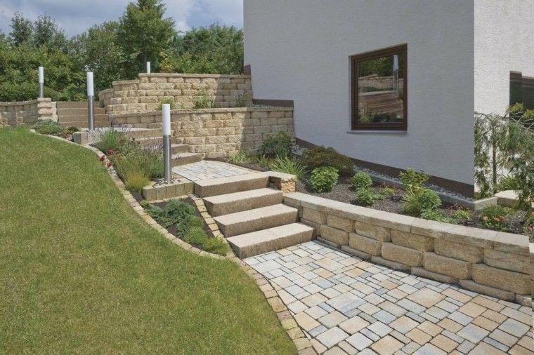 Muros en el jard n 75 ideas que te encantar n for Escalera de bloque de jardin