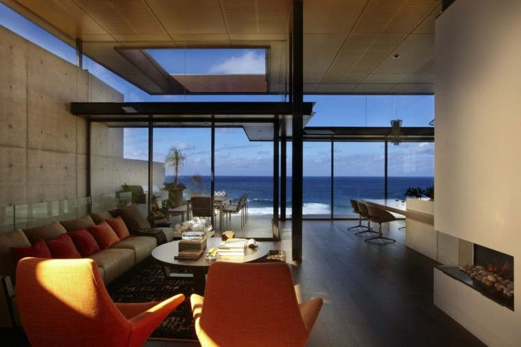 naranja cojines muebles rocas diseño moderno