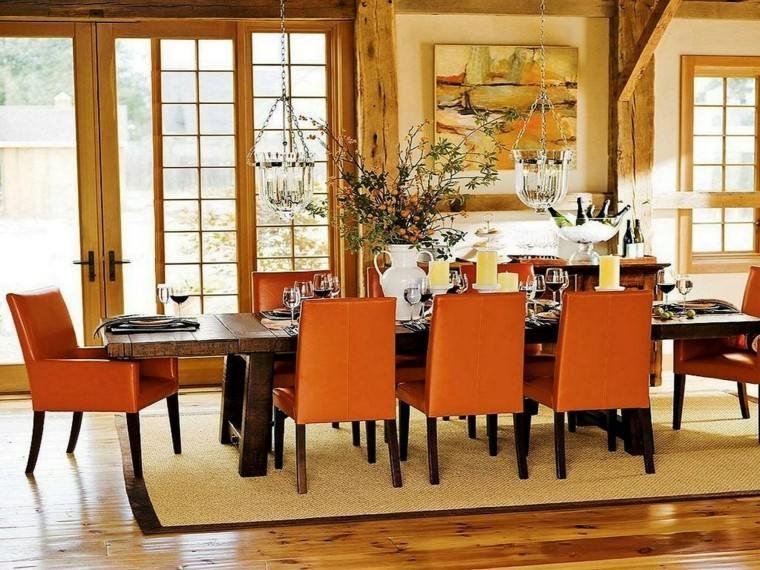 naranja muebles madera estilo lampara