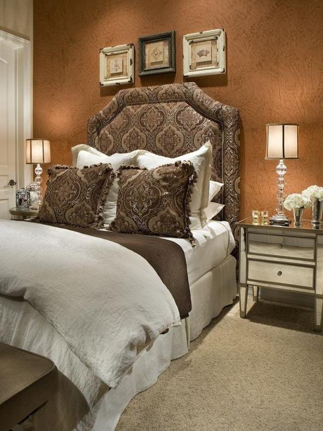 original cama cabecero acolchado marron