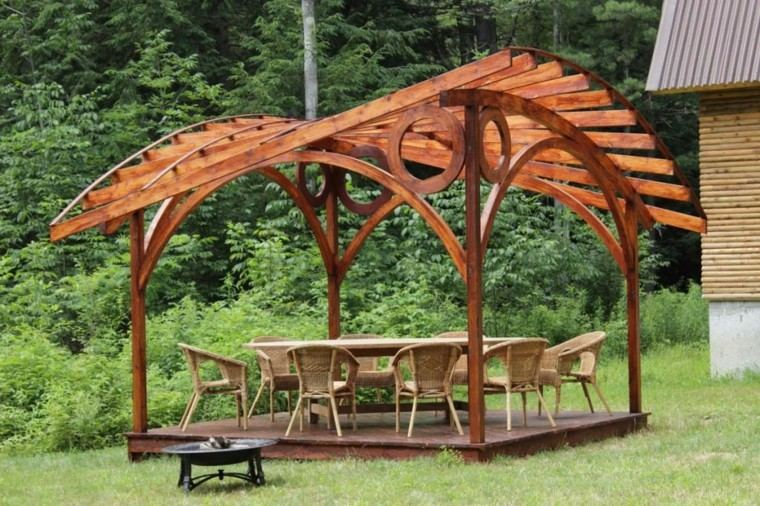 original diseño pergolas de madera jardin