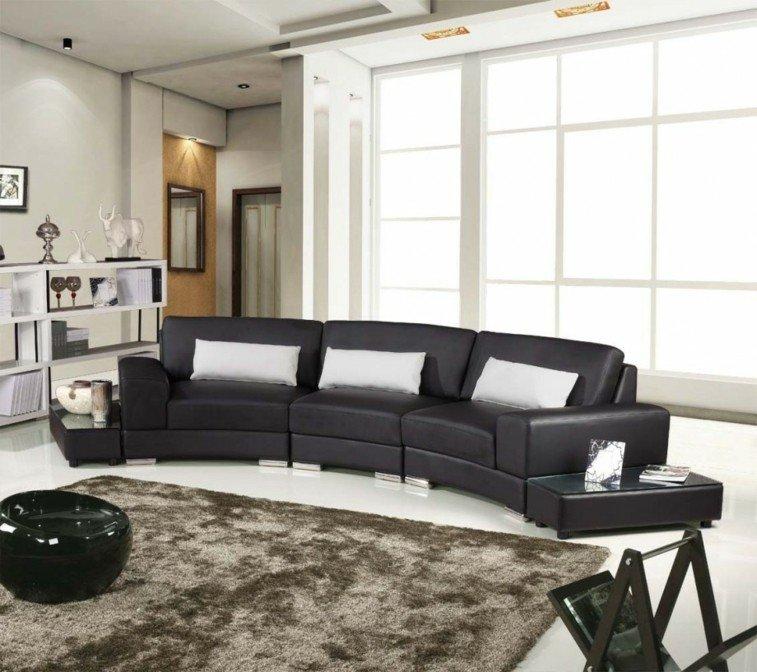 original sofa piel negro redondo