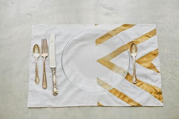 originales manteles individuales blanco oro