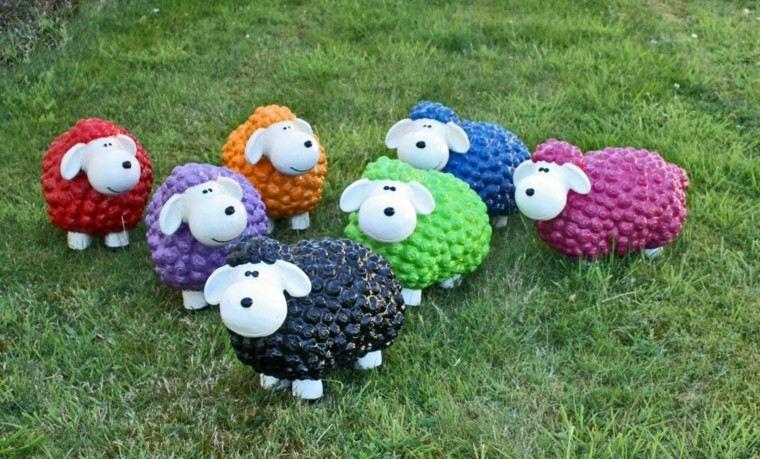 ovejas varias colores deco jardin