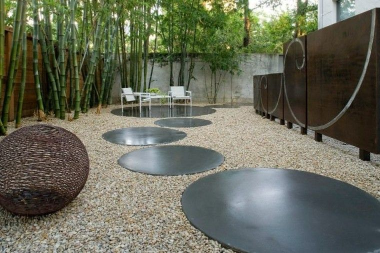 paisajes bonitos jardin guijarros bambu zen ideas