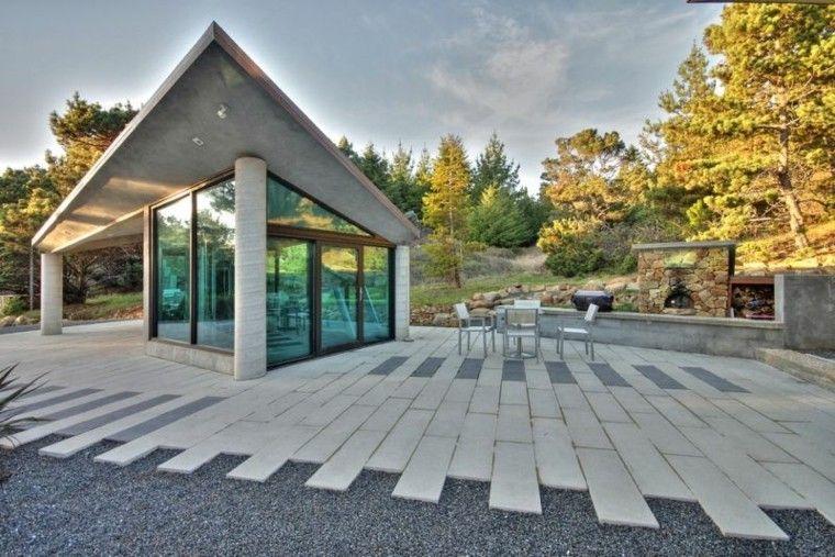 paisajes bonitos jardin guijarros losas chimenea ideas