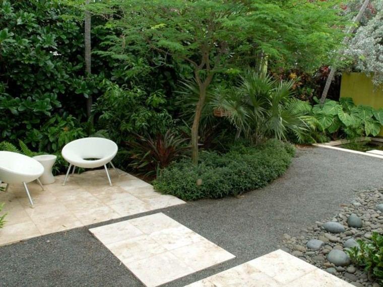 paisajes bonitos jardin guijarros losas plantas naturalidad ideas
