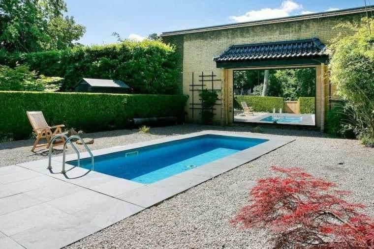paisajes bonitos jardin guijarros piscina pequena ideas