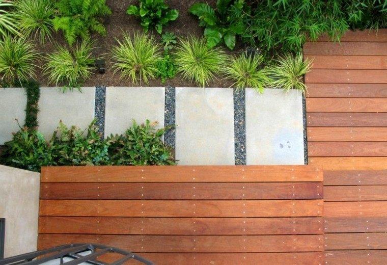 paisajes bonitos jardin guijarros suelo madera ideas