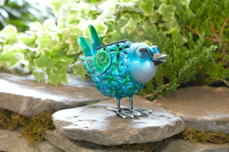 pajaro decorativo azul brillo