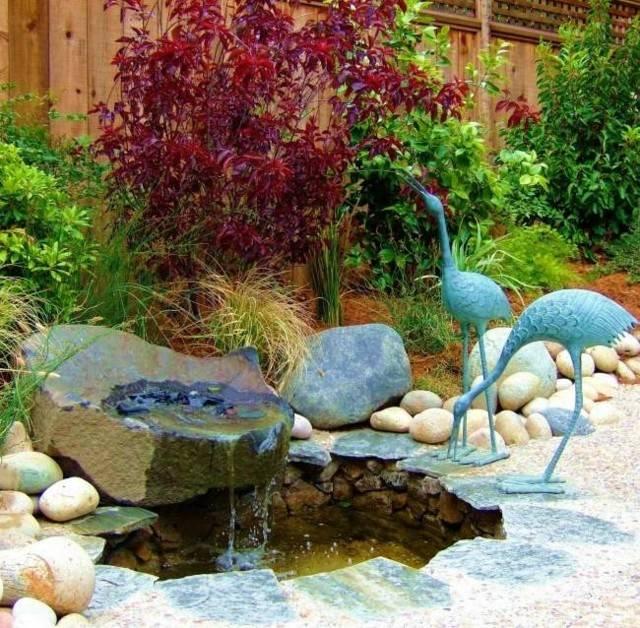 pajaros azules decoracion jardin