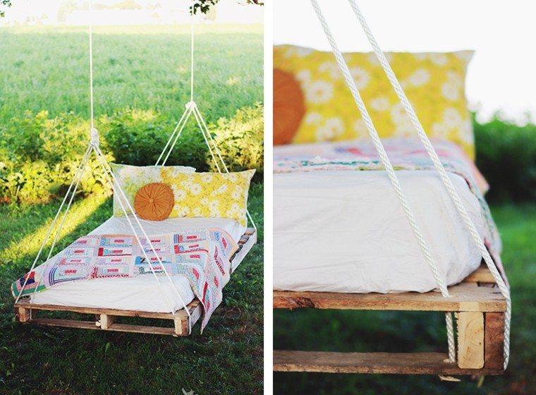 palet cama colgada jardin comoda ideas interesantes