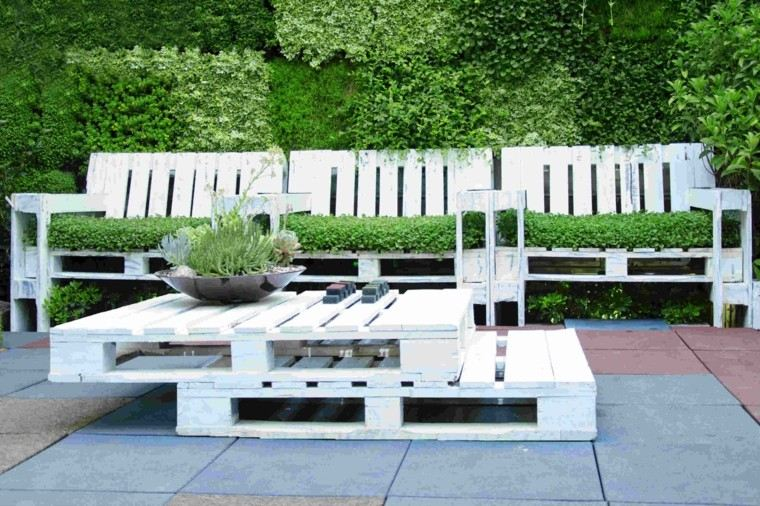 palet jardin muebles color blanco mesa plantas ideas