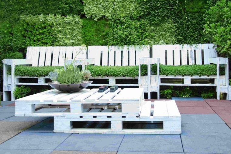 palet jardin muebles color blanco mesa plantas ideas