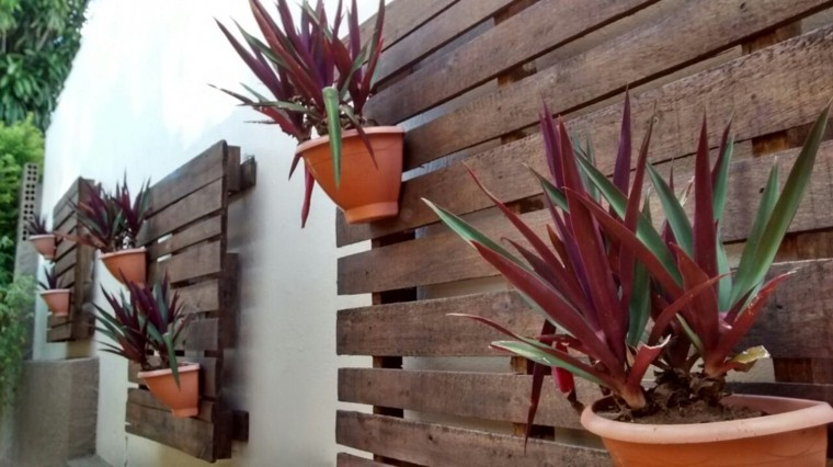 palets jardin vertical pared ideas macetas plantas