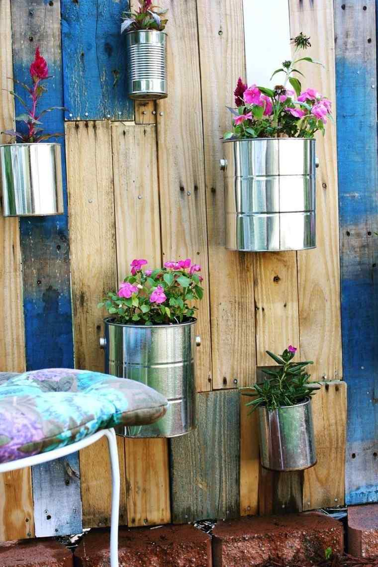 palets latas flores macetas jardin estilo vintage ideas
