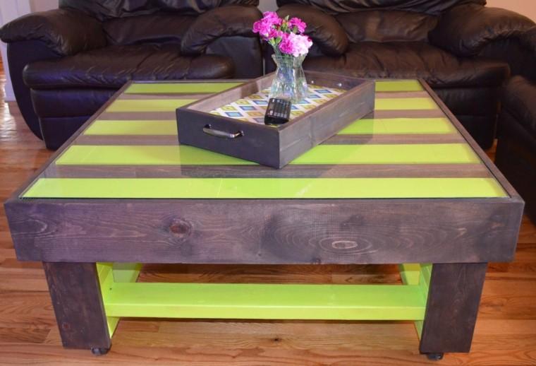 palet mesa marron verde encimera cristal ideas moderna
