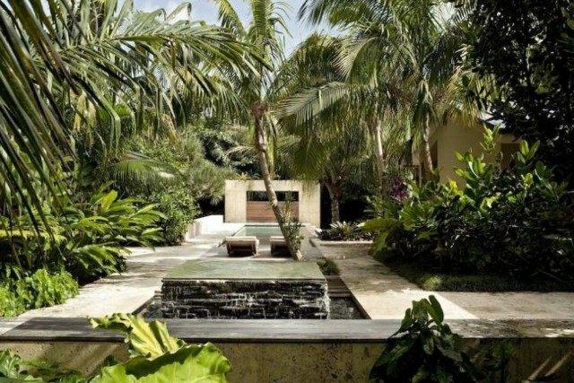 palmeras paisaje bonito jardin fuente