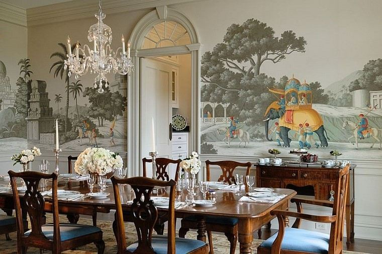 papel-para-paredes-ideas-estilo-victoriano-comedor-moderno