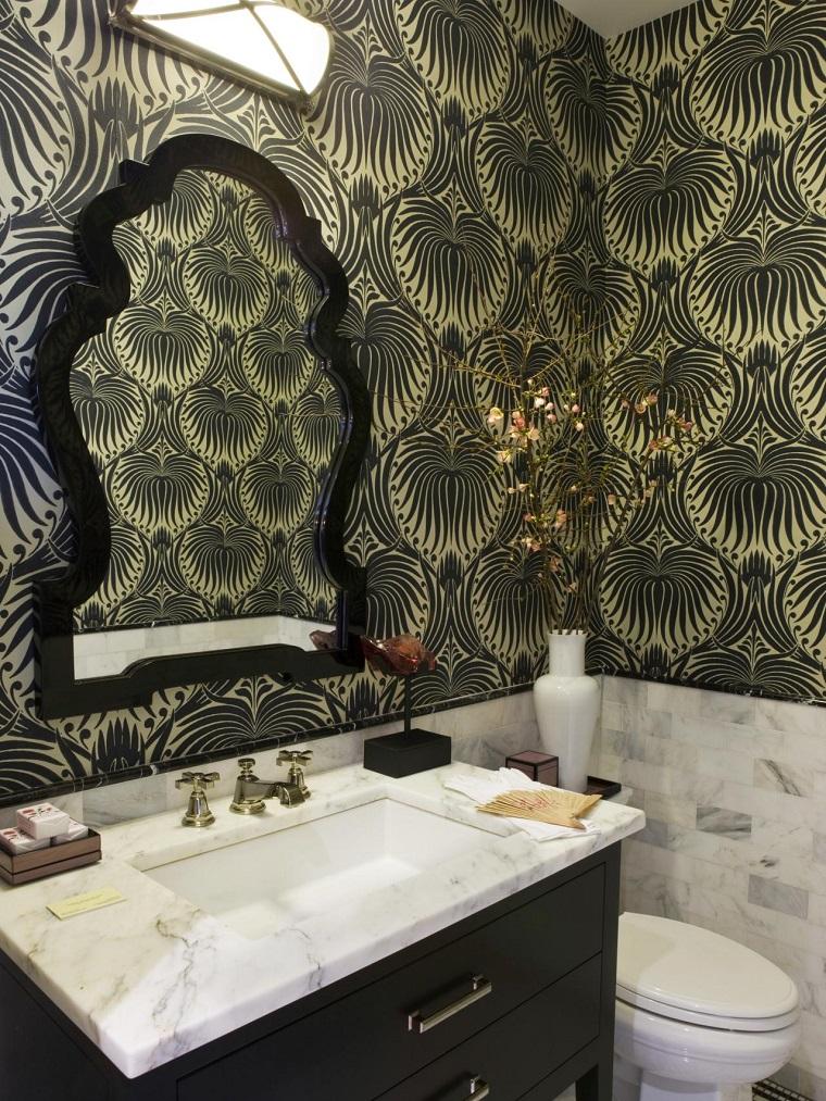 papel pared encimera lavabo marmol jarron blanco ideas