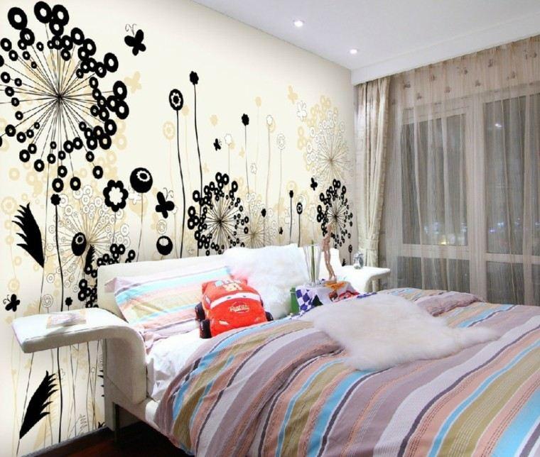 Revestimiento de paredes de dormitorios 50 ideas - Paredes decoradas con papel ...