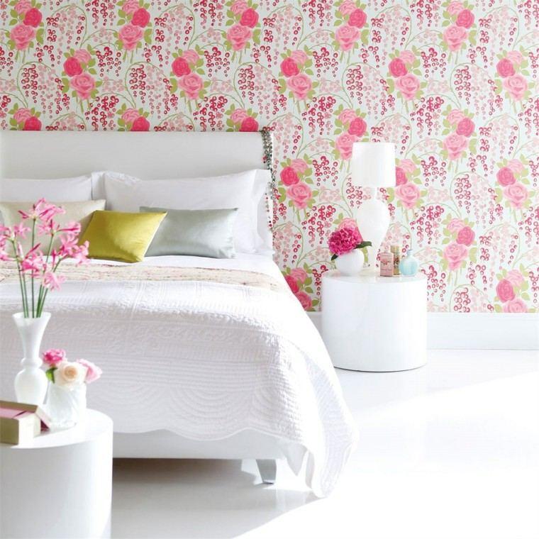 papel pared motivos florales dormitorio escandinavo ideas