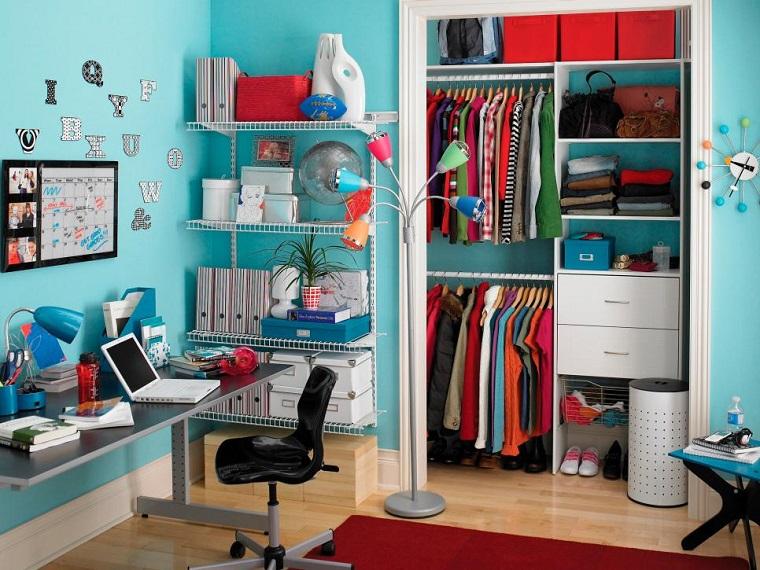 pared azul claro espacio ropa grande dormitorios juveniles ideas