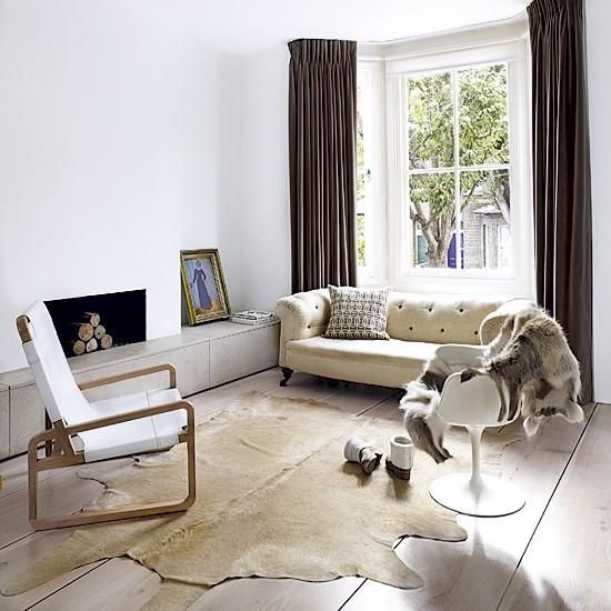 pared blanca luminoso piel animal decorativa ideas