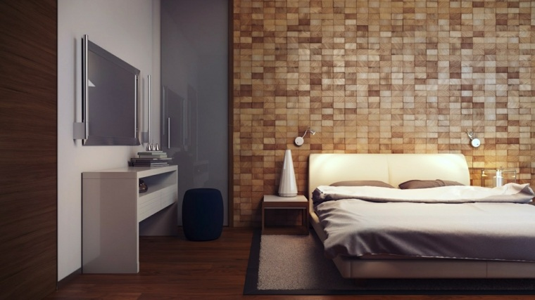 pared cabecero laminado bloques madera