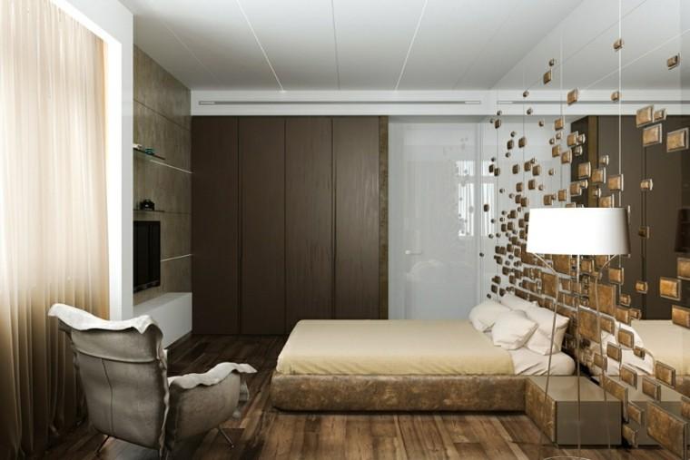 pared cabecero dormitorio espejo relieves
