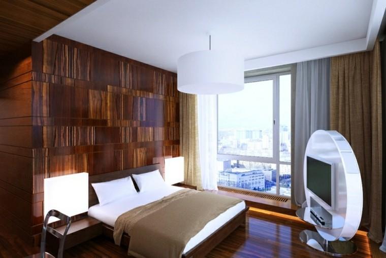 pared cabecero madera brillante barnizada